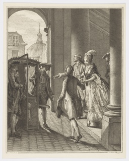 A richly attired lady descends a stairway in profile and prepares to enter a sedan chair directly in front of her. A man in the center foreground faces her and reaches out for her hand. A few other elegantly dressed men are gathered around her. In the background the dome of the Church of the Assumption in the Rue Saint-Honoré, Paris can be seen.