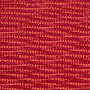 Length of woven textile with a 3-dimensional diamond weave, in red and orange.