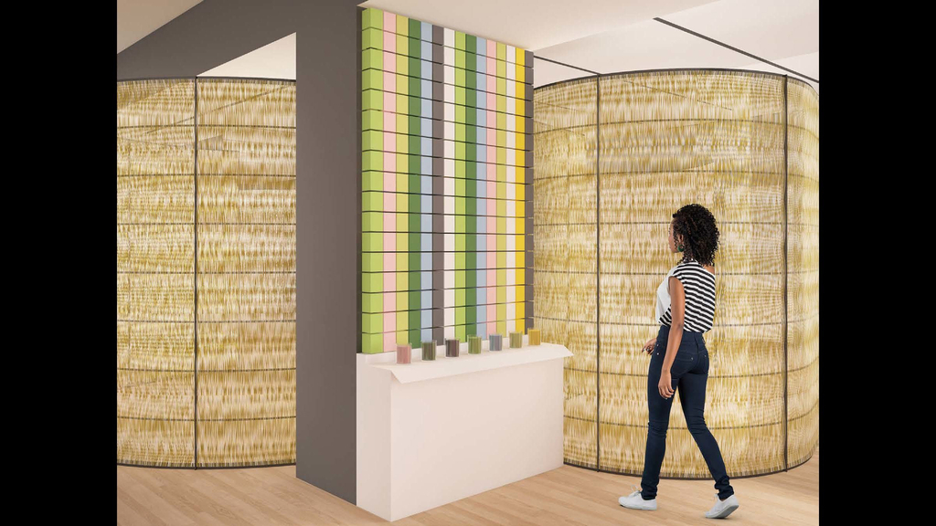 A rendering shows seven scented candles are displayed on a shelf. Printed cardboard packages for each candle are stacked above in columns. The packages are printed in rich colors that reinforce the scent of each candle.
