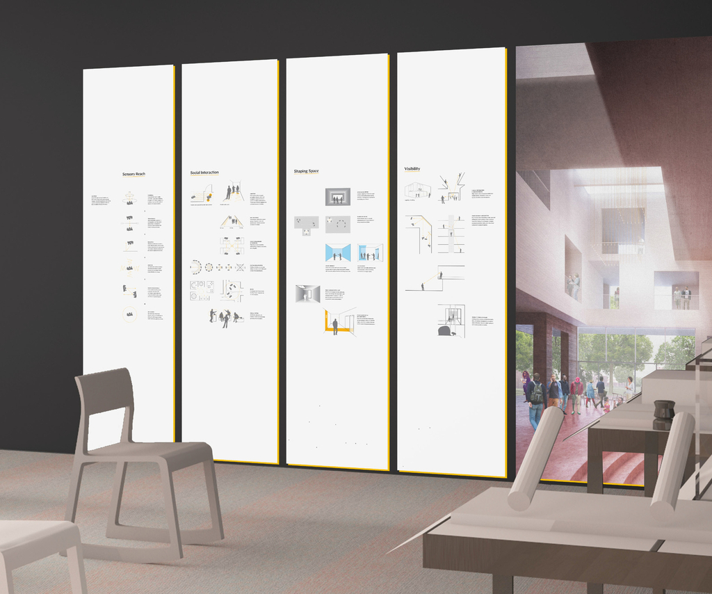 Four wall graphics feature architectural diagrams. Principles include providing ample space for people to communicate visually, offering open views and visible destinations, and using light, color, materials, and reflective surfaces to enhance wayfinding.
