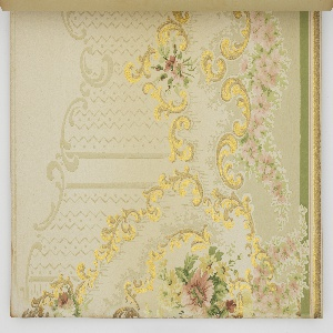 All of the samples included in this album are combination sidewall and frieze papers. The samples include landscape papers, lace effects, moiré, and grape vine designs, with several of the designs printed in deep saturated colors. There are no ceiling papers in this album. Most of the designs are in the art nouveau or Louis XVI style.