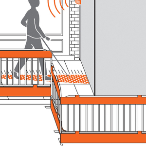 This proposal for a citywide tactile communication system uses paving with different textures to indicate points of interest, such as a bus stop, a garbage can, a sign, or an entrance to a building.