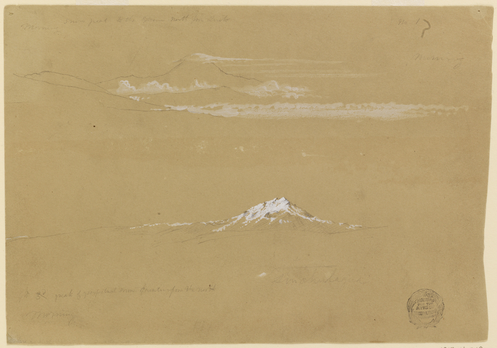"Top:  The cloud- capped Carambe rises over cloud banks and ranges.  Written: ""Morning snow peak to the extreme North from Quito No.1/ Morning""