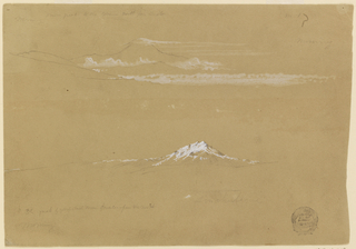 "Top:  The cloud- capped Carambe rises over cloud banks and ranges.  Written: ""Morning snow peak to the extreme North from Quito No.1/ Morning"" Bottom: A summit rises from a range.  Both are snow-capped.  Caption: ""4th (3d struck out) peak of perpetual snow counting from the north Sinchulagua/ Morning"""