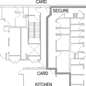 A tactile drawing depicts an architectural floor plan. Drawings like this enable communication between sighted and non-sighted designers.