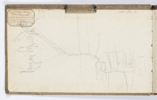 Recto: Inside front cover of sketchbook, with faint sketch of architectural form, possibly Gothic. Verso: Sketch of nude female figure, standing, facing frontally, with arms at sides.