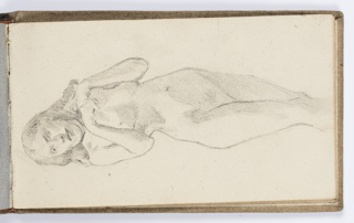 Recto: Three-quarter length view of standing female nude with hands together near left shoulder. 
