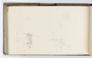 Indistinct sketches of lines and points, possibly showing a Gothic arch with perspectival lines.