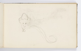 Recto: Sketch of animal, seen frontally with tail curling towards right. 