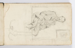 Recto: At right, portrait of a seated man with picture hung on wall in background, enframed. At left, oriented differently, sketch of hanging marionette puppet. 