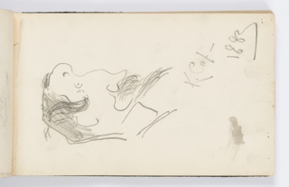Recto: Caricature of man with facial hair in right profile. 