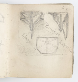 Recto: Sketches of bracket supports from the side and above.  Verso: Sketch of five-pronged leaf, above; sketch of flower with three petals, below.
