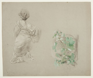 Left, Sketch of a female figure kneeling; Right, Sketch of a grape vine.