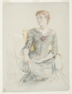 Three-quarter length portrait of a female figure seated wearing a blue dress.