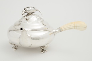 Globular silver teapot on three scroll feet with blossom finial; fluted ivory handle