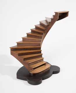 Rectilinear staircase model on shaped base.