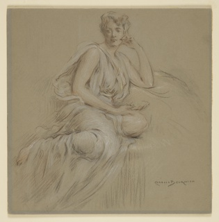 Draped female figure, seated, with head resting on left hand. Right hand, on lap, holds a shell.