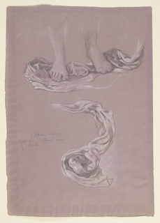 Sketch of drapery beneath the feet of a figure.