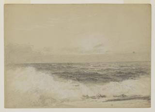 A sketch of the rolling sea with white caps in the foreground.