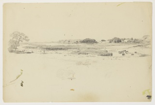 Sketch of a marsh with trees along the horizon.