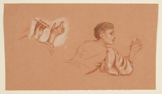 Horizontal rectangle. Left: study of hands; right: half-length study of figure seen from the back, the head facing right in profile.