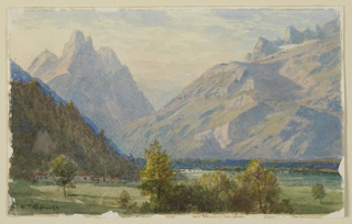 Sketch of lowlands with a group of houses in shadow. Mountain range shown in the background.