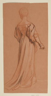 Full-length sketch of a female figure in costume, from the back.