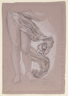 Sketch of drapery falling below the waist, swirling about the legs of the figure.