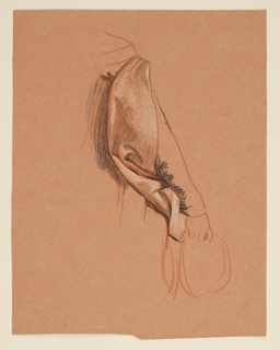 Study of a draped sleeve covering the right arm.