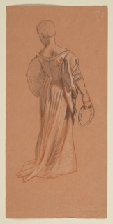 Full-length sketch of a female figure in costume, seen from the back.