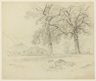Sketch of a lake with mountains in the background.