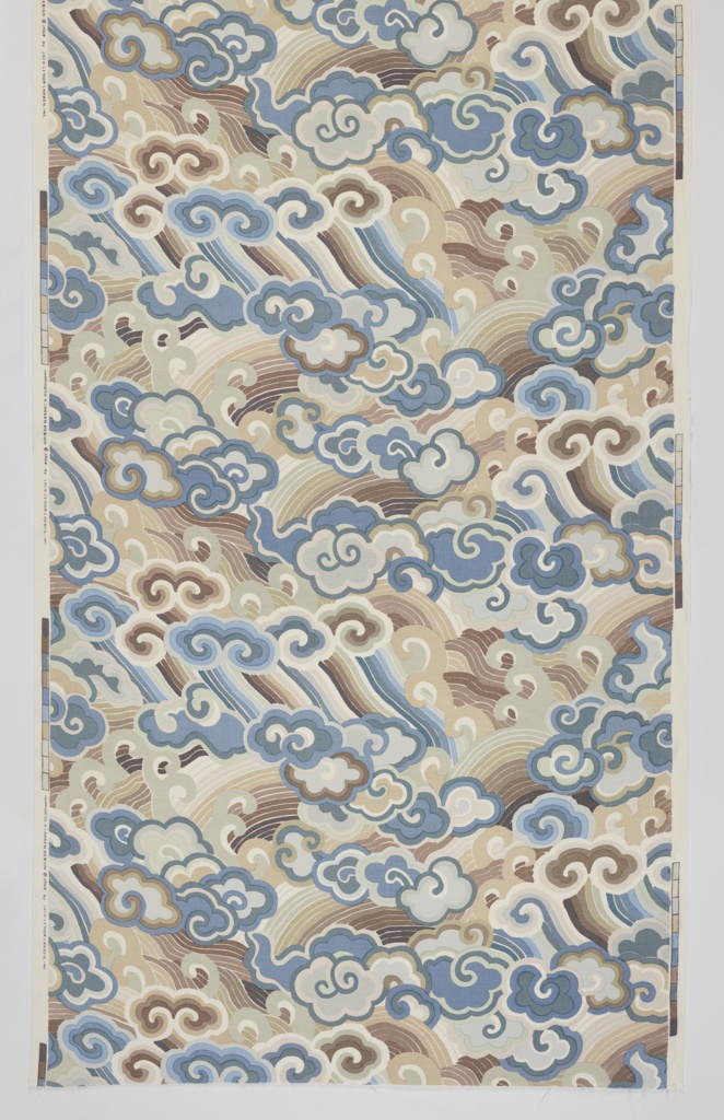 All-over pattern of Chinese cloud scrolls and wave bands, in 3 shades of brown, 5 blues, gray and tan on a white ground.
