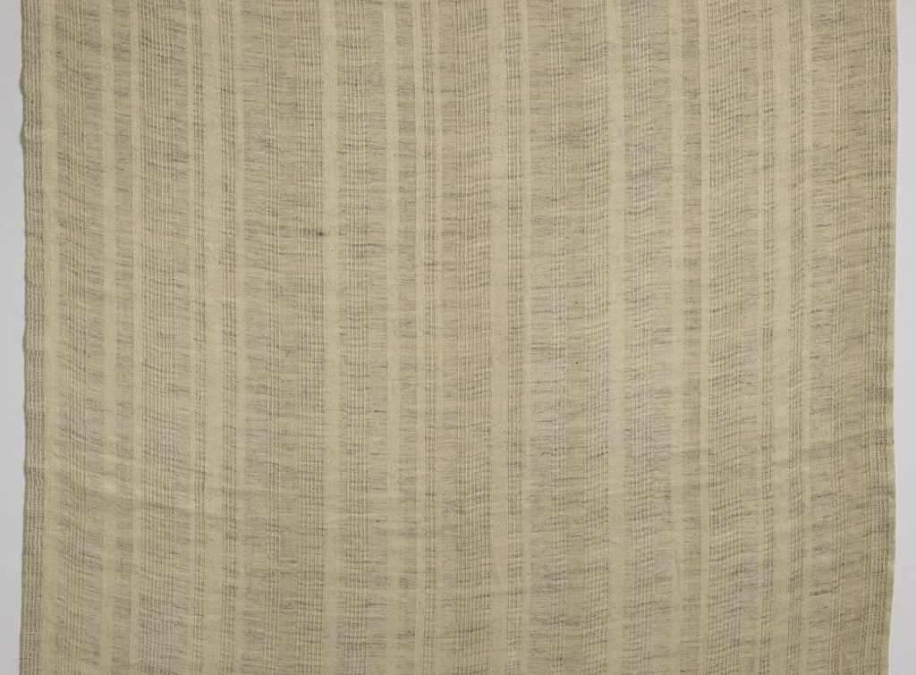 Vertical stripes of unbleached linen and gray goat hair, with stripes of open-weave.