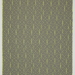 Neon yellow linear cube pattern on a grey ground.