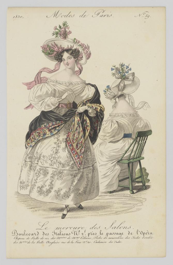 Print, Plate 59, Modes de Paris (Paris Fashion), Le Mercure de Salons (Mercury of the Salons)