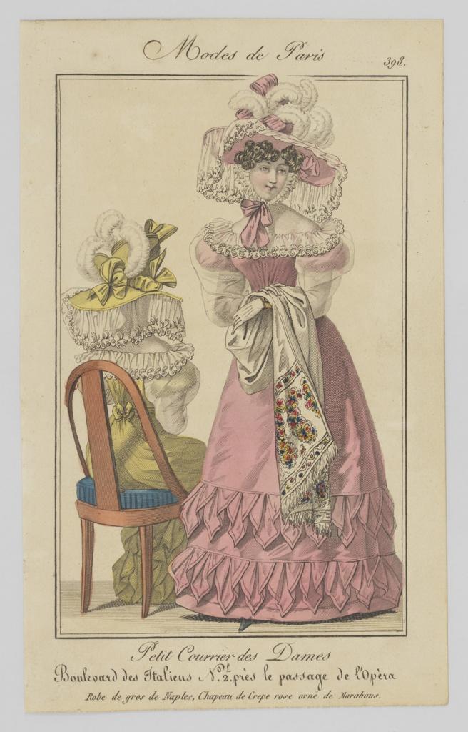 Print, Plate 398, Modes de Paris (Paris Fashion), Petit Courrier des Dames, Journal des Modes (Little Ladies' Mail, Fashion Journal)
