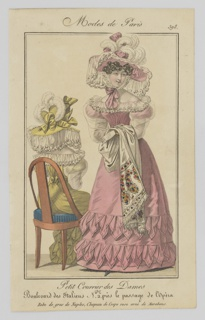 Print, Plate 398, Modes de Paris (Paris Fashion), Petit Courrier des Dames, Journal des Modes (Little Ladies' Mail, Fashion Journal)