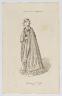 Fashion illustration featuring a young woman, shown full-length, wearing a floor-length cloak decorated at hem with botanical elements including leaves and flowers, arranged into designs evocative of paisley motifs and borders. The cloak is parted at bust height to reveal a tailored dress and gloved hands beneath. Her hair is also adorned with botanical elements to match. Slight shading behind the figure reveals decorative interior elements.