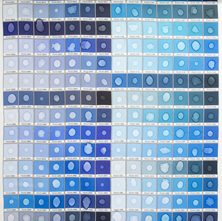 Color chart of Pantone blues, each with a water stain in the center.