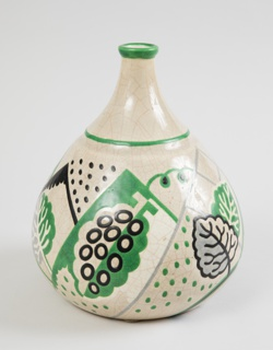 Tear-drop shaped pitcher in cream earthenware with a border of black green and white stylized plant elements and geometries