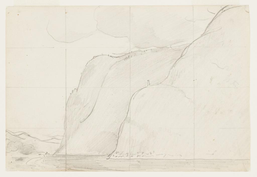 Sketch of a river as it bends around steep cliffs with a faint indication of a boat and mountains in the distance.