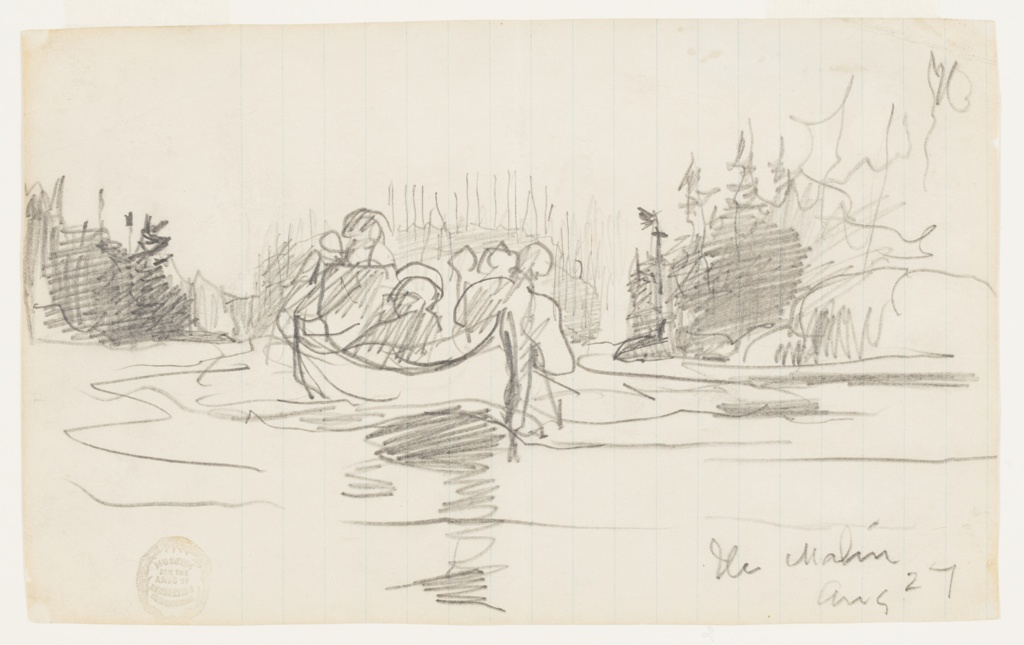 Sketch of a canoe with three male figures.