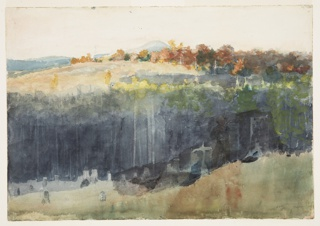 Drawing, Valley and Hillside