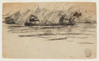 Sketch of two male figures in a canoe with bags in center of canoe; indication of foliage in background.