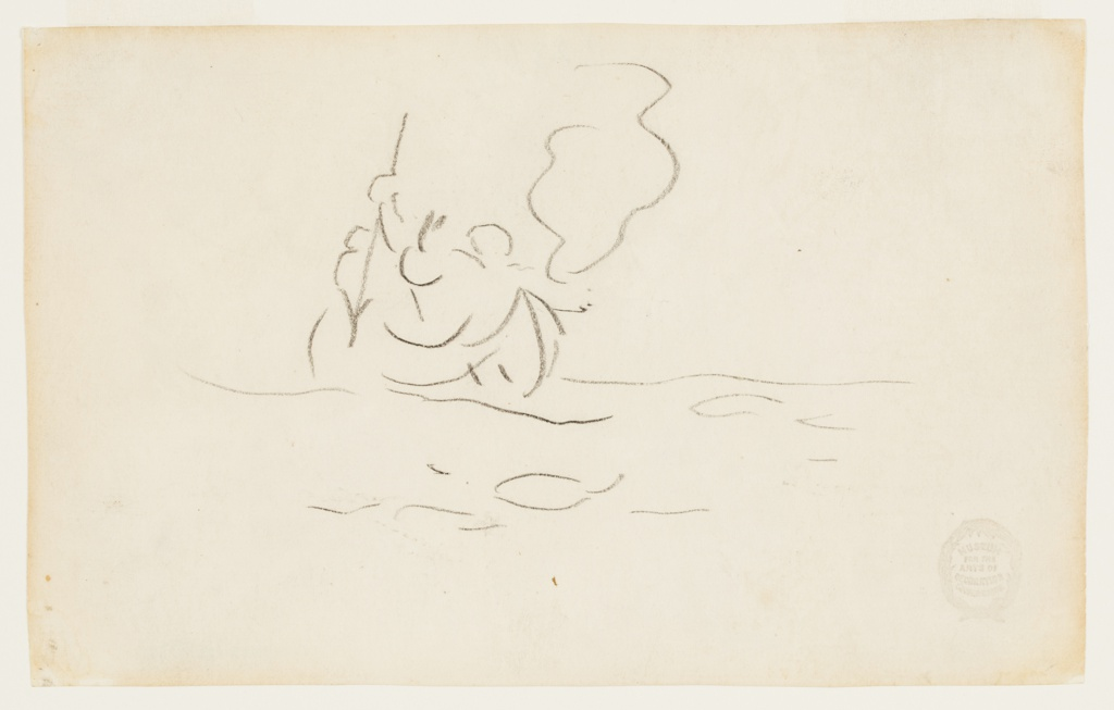 Sketch of a male figure, in a canoe, who is about to plunge a harpoon into the water.