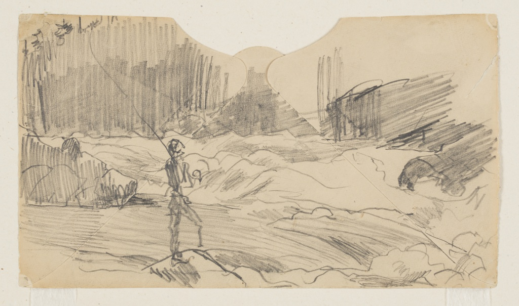 Sketch of a male figure casting a long fishing rod while standing on a rock in a rapids.