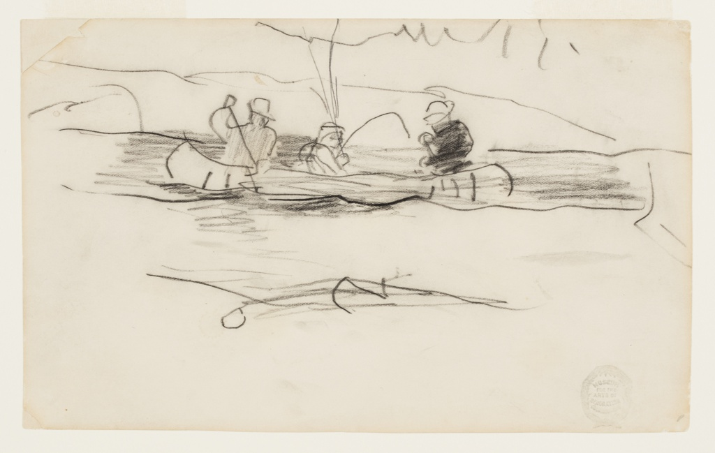 Sketch of two male figures paddling a canoe while a third, in the center, fishes.