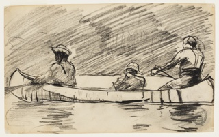 Sketch of three male figures in a canoe.