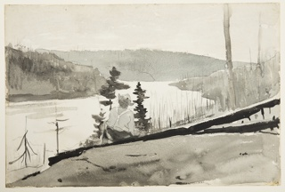 Recto: View of a sloping hill with a male figure, seen from behind, seated on two fallen pine tree trunks and also framed by two live pine trees in center foreground, before a vista filled by a mountain river (or lake) surrounded by hills covered with burned trees; Verso: Patches of various colors.