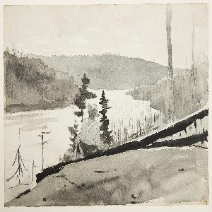 Drawing, Mountain River or Lake